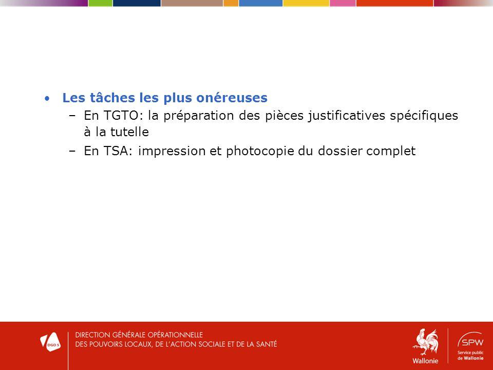 Les tâches les plus onéreuses –En TGTO: la préparation des pièces justificatives spécifiques à la tutelle –En TSA: impression et photocopie du dossier complet