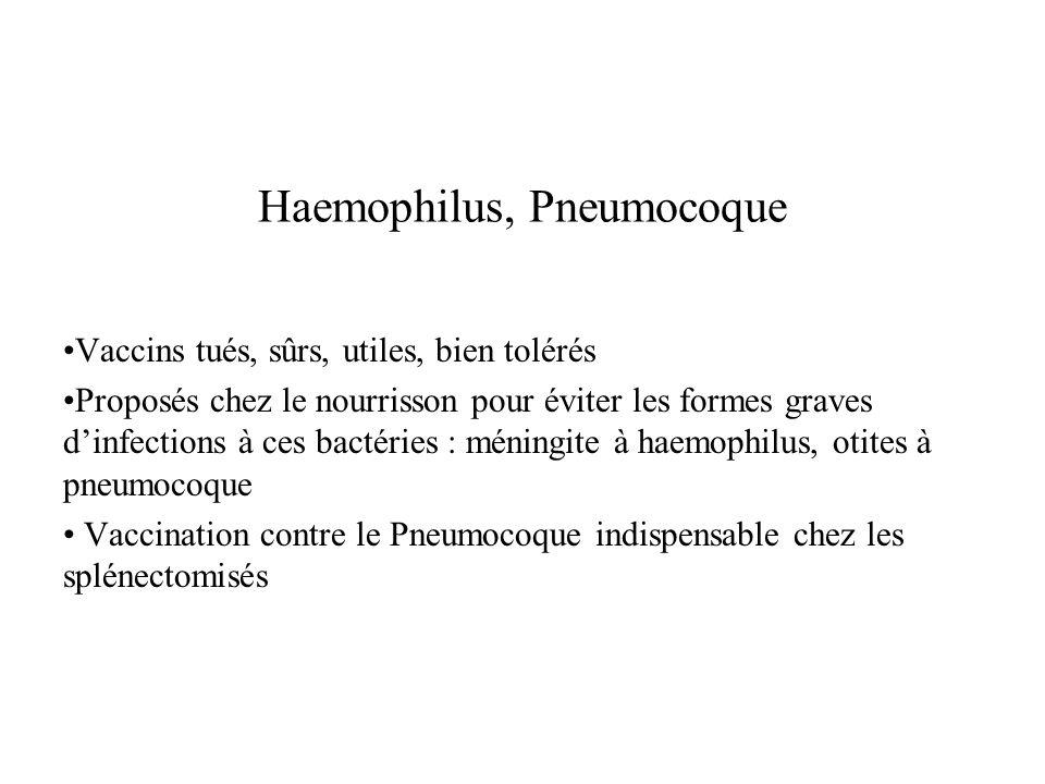 Haemophilus, Pneumocoque Vaccins tués, sûrs, utiles, bien tolérés Proposés chez le nourrisson pour éviter les formes graves dinfections à ces bactérie