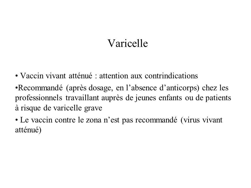 Varicelle Vaccin vivant atténué : attention aux contrindications Recommandé (après dosage, en labsence danticorps) chez les professionnels travaillant
