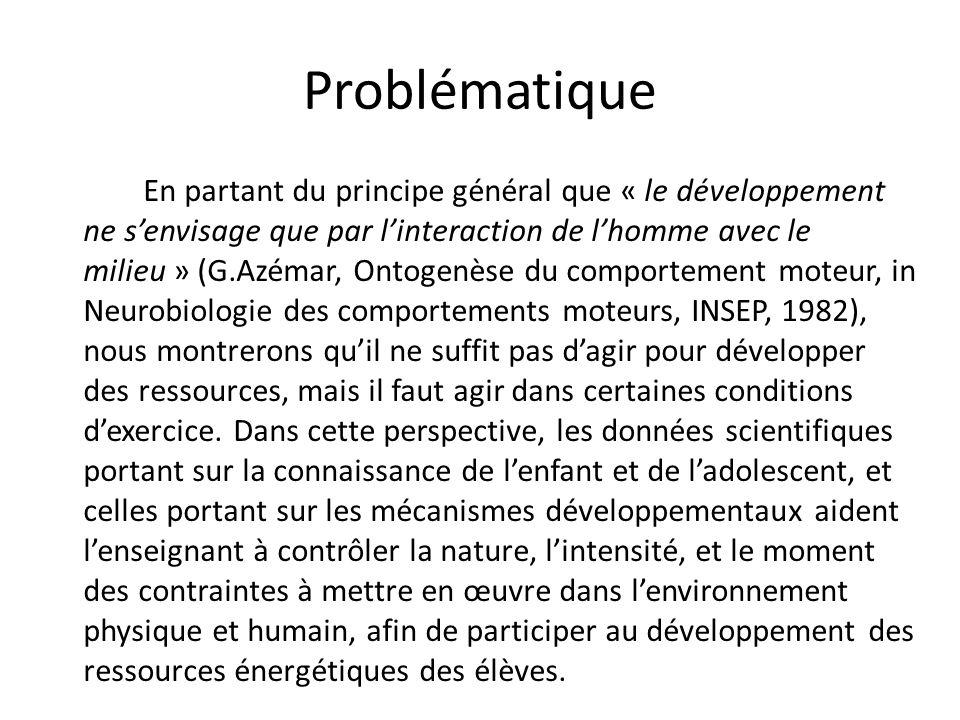 Problématique En partant du principe général que « le développement ne senvisage que par linteraction de lhomme avec le milieu » (G.Azémar, Ontogenèse