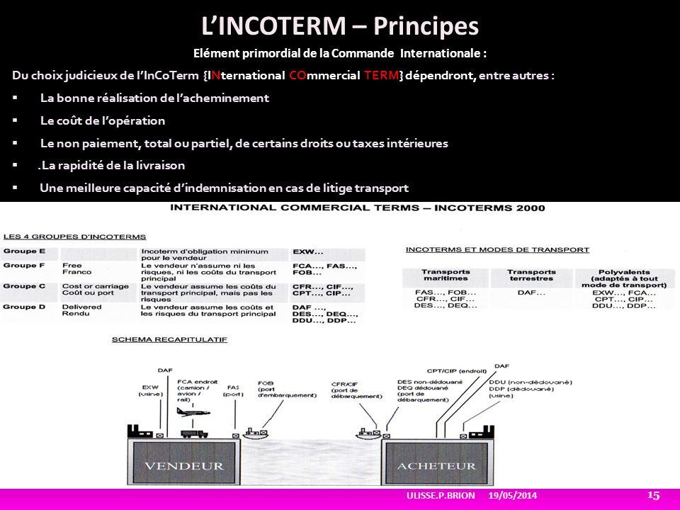 LINCOTERM – Principes Elément primordial de la Commande Internationale : Du choix judicieux de lInCoTerm {INternational COmmercial TERM} dépendront, e