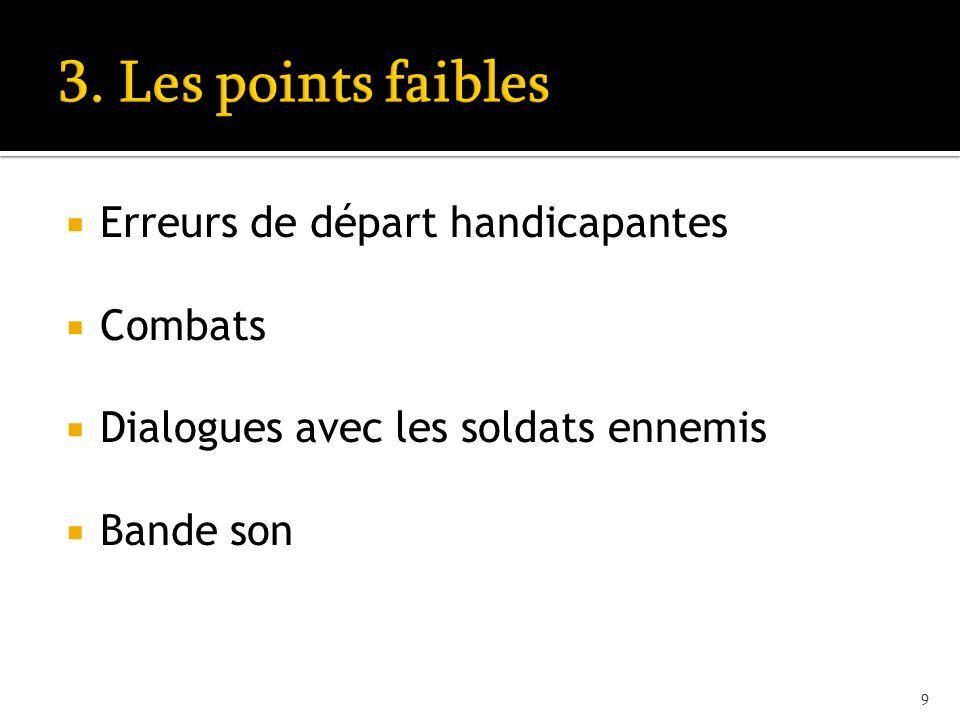 Erreurs de départ handicapantes Combats Dialogues avec les soldats ennemis Bande son 9