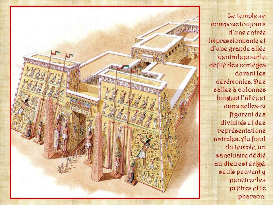 En Egypte ancienne, si les pyramides sont destinées aux pharaons, ces derniers font construire de nombreux temples en lhonneur des dieux. Ces édifices