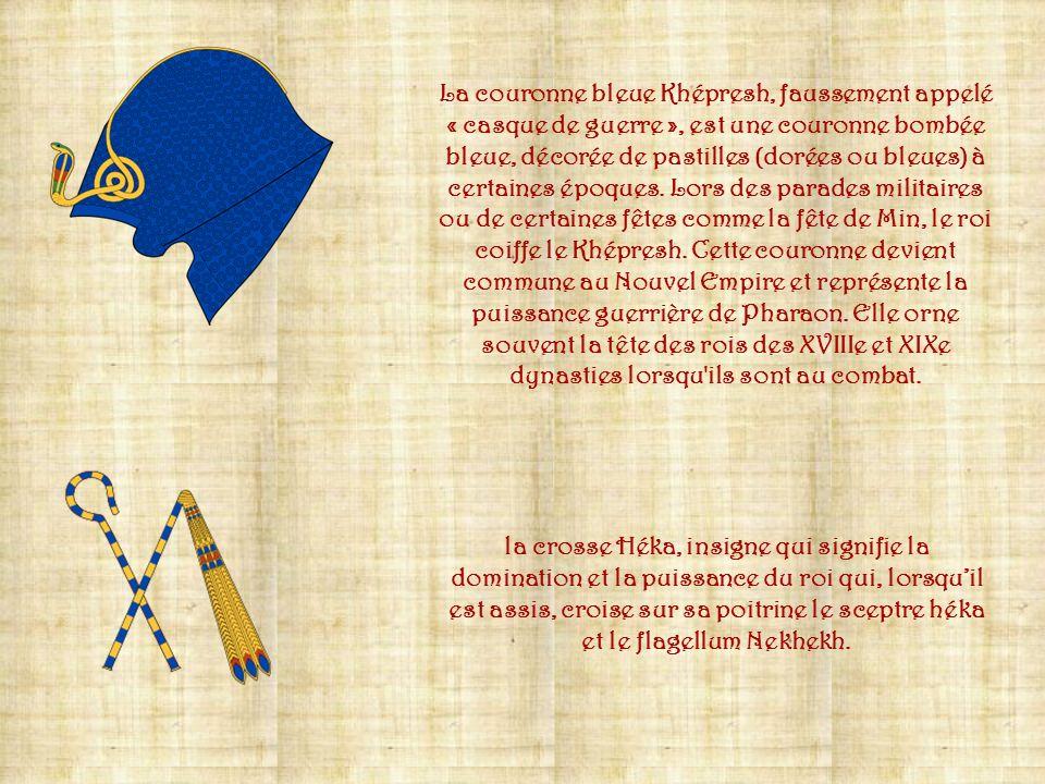 La couronne blanche Hedjet, couronne du Sud (Haute-Égypte), est portée également par les dieux tutélaires du Sud, principalement Horus et Nekhbet. L'A