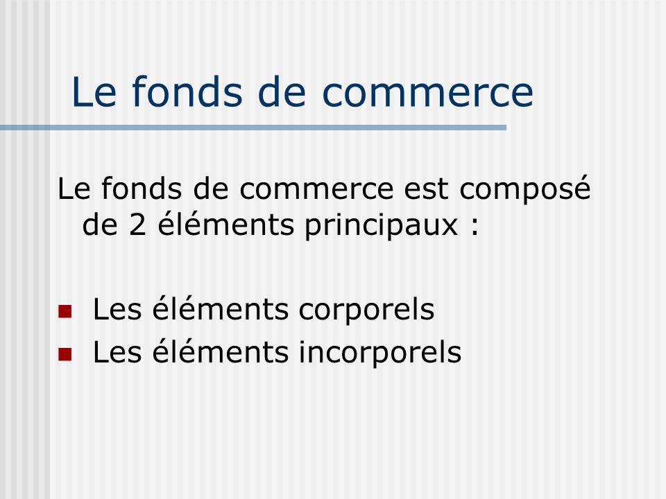Le fonds de commerce Le fonds de commerce est composé de 2 éléments principaux : Les éléments corporels Les éléments incorporels
