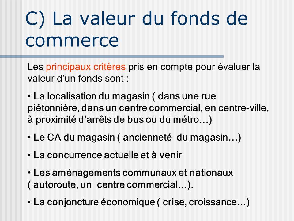 C) La valeur du fonds de commerce Les principaux critères pris en compte pour évaluer la valeur dun fonds sont : La localisation du magasin ( dans une