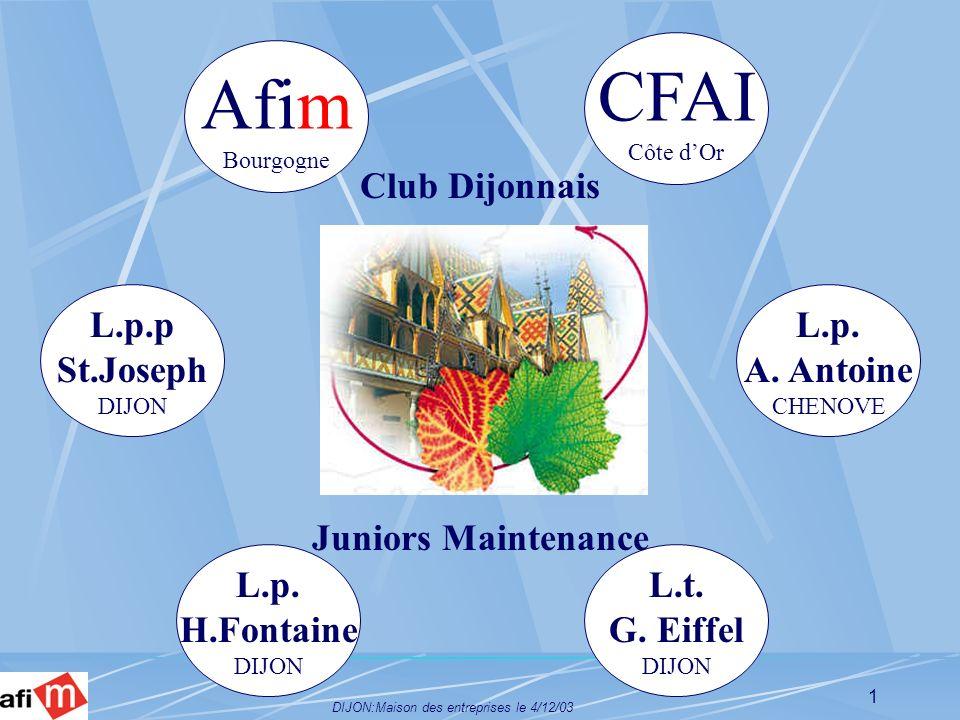 DIJON:Maison des entreprises le 4/12/03 1 Club Dijonnais Juniors Maintenance Afim Bourgogne CFAI Côte dOr L.p.