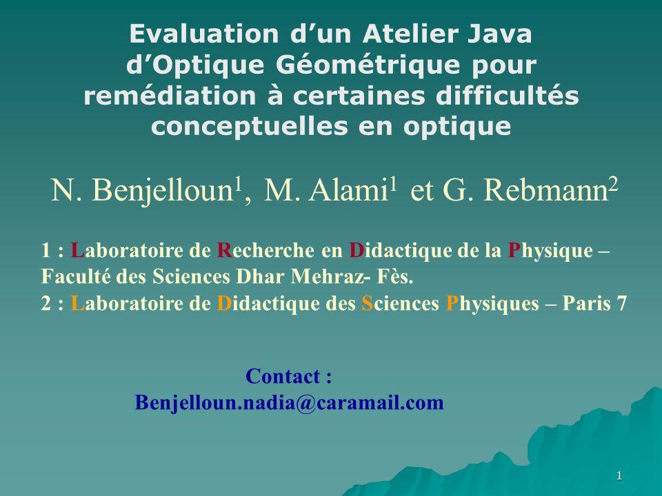 1 N. Benjelloun 1, M. Alami 1 et G.