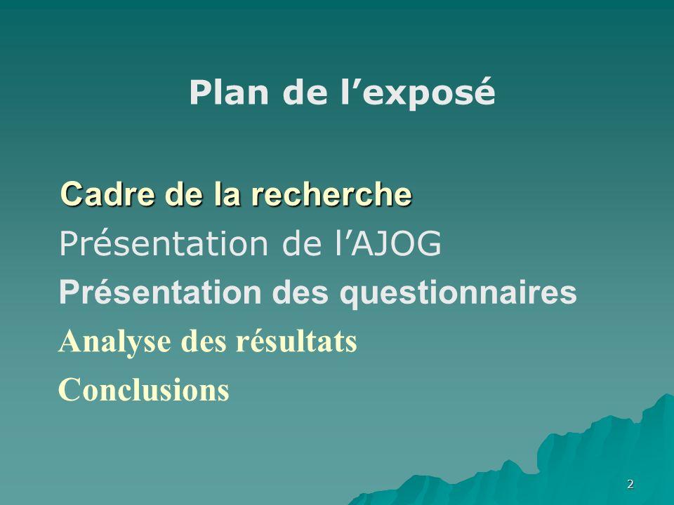 2 Cadre de la recherche Présentation des questionnaires Analyse des résultats Conclusions Plan de lexposé Présentation de lAJOG