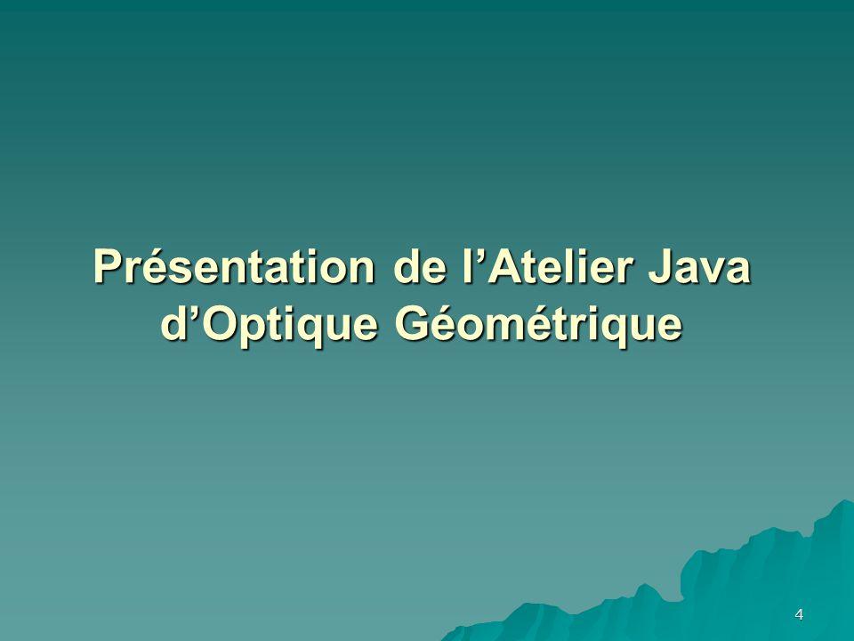4 Présentation de lAtelier Java dOptique Géométrique