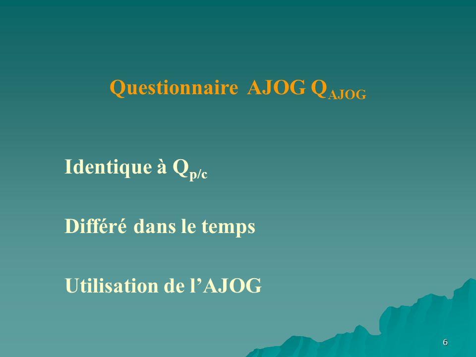 6 Questionnaire AJOG Q AJOG Identique à Q p/c Différé dans le temps Utilisation de lAJOG