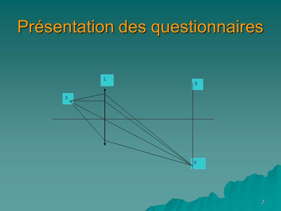 7 Présentation des questionnaires S E S L