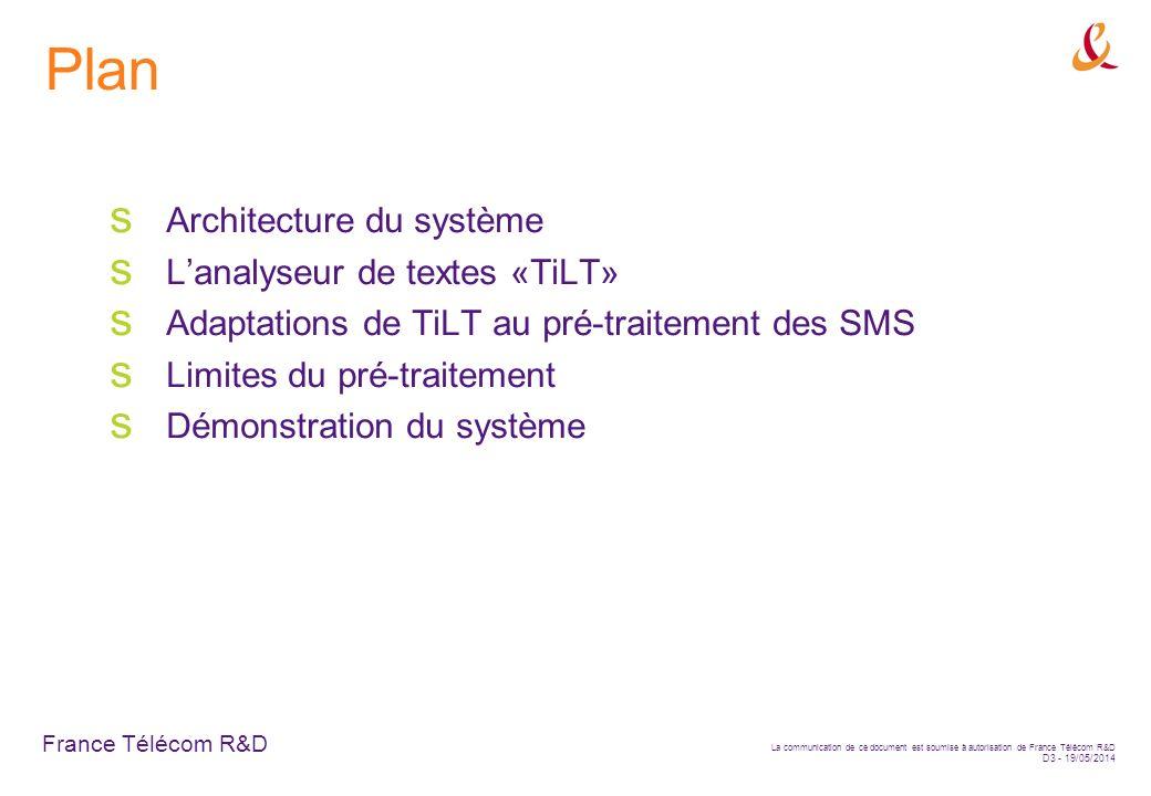 France Télécom R&D La communication de ce document est soumise à autorisation de France Télécom R&D D3 - 19/05/2014 Plan Architecture du système Lanalyseur de textes «TiLT» Adaptations de TiLT au pré-traitement des SMS Limites du pré-traitement Démonstration du système