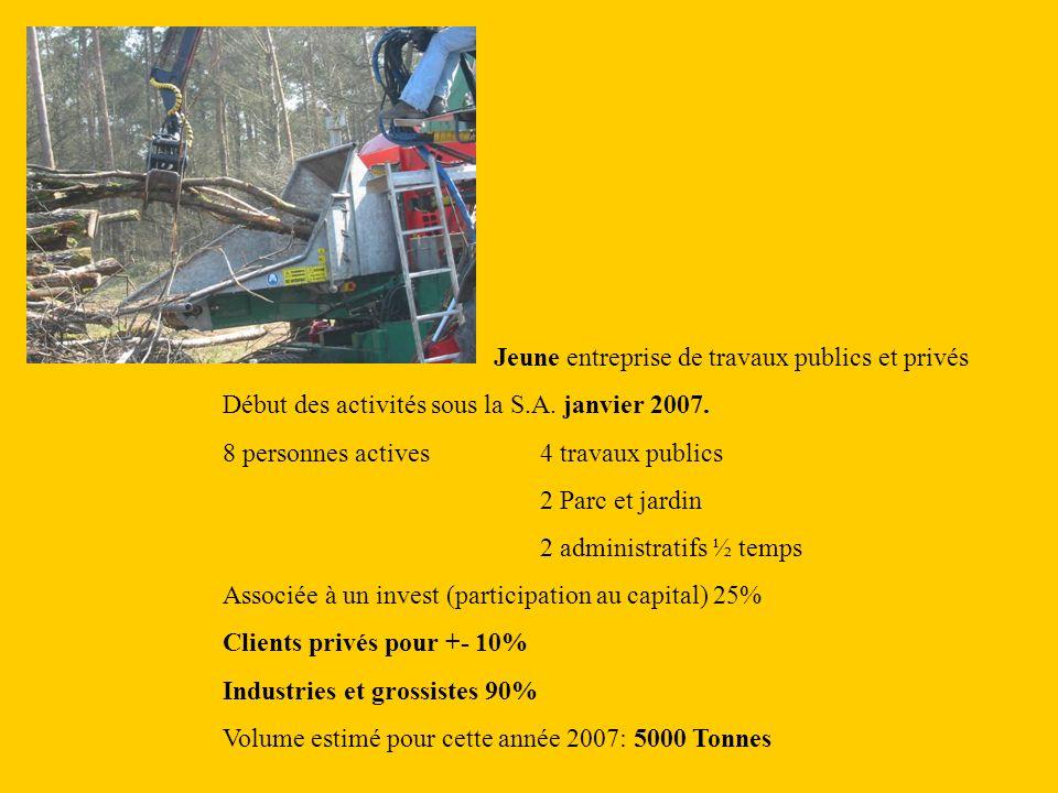 Jeune entreprise de travaux publics et privés Début des activités sous la S.A.