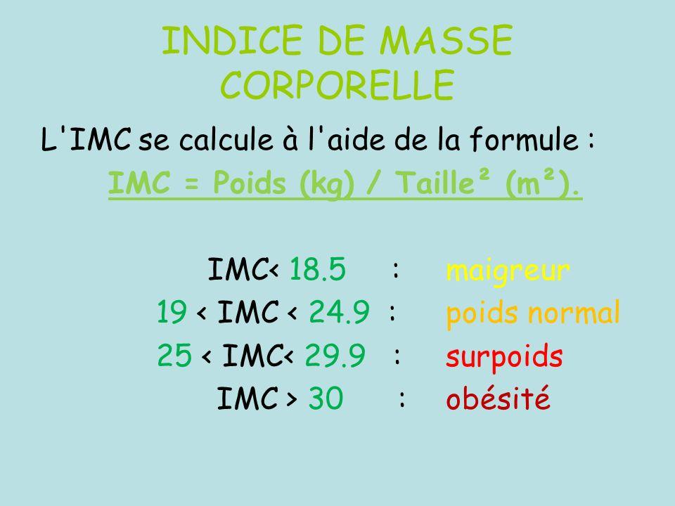 INDICE DE MASSE CORPORELLE L'IMC se calcule à l'aide de la formule : IMC = Poids (kg) / Taille² (m²). IMC< 18.5 : maigreur 19 < IMC < 24.9 : poids nor