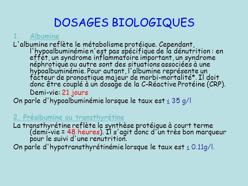 DOSAGES BIOLOGIQUES 1.Albumine L'albumine reflète le métabolisme protéique. Cependant, l'hypoalbuminémie n'est pas spécifique de la dénutrition : en e