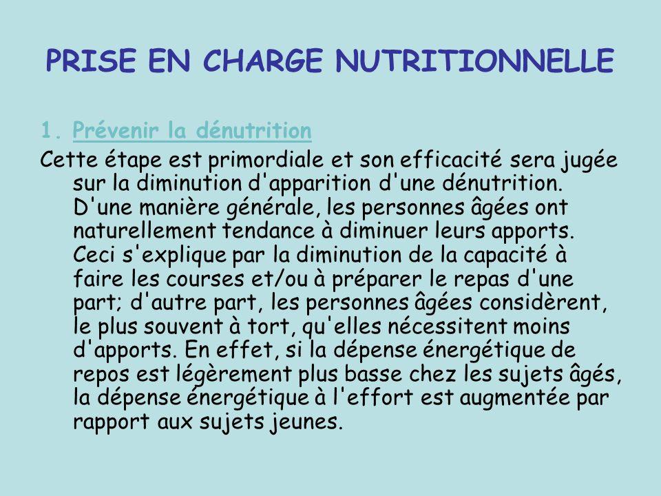 PRISE EN CHARGE NUTRITIONNELLE 1.Prévenir la dénutrition Cette étape est primordiale et son efficacité sera jugée sur la diminution d'apparition d'une