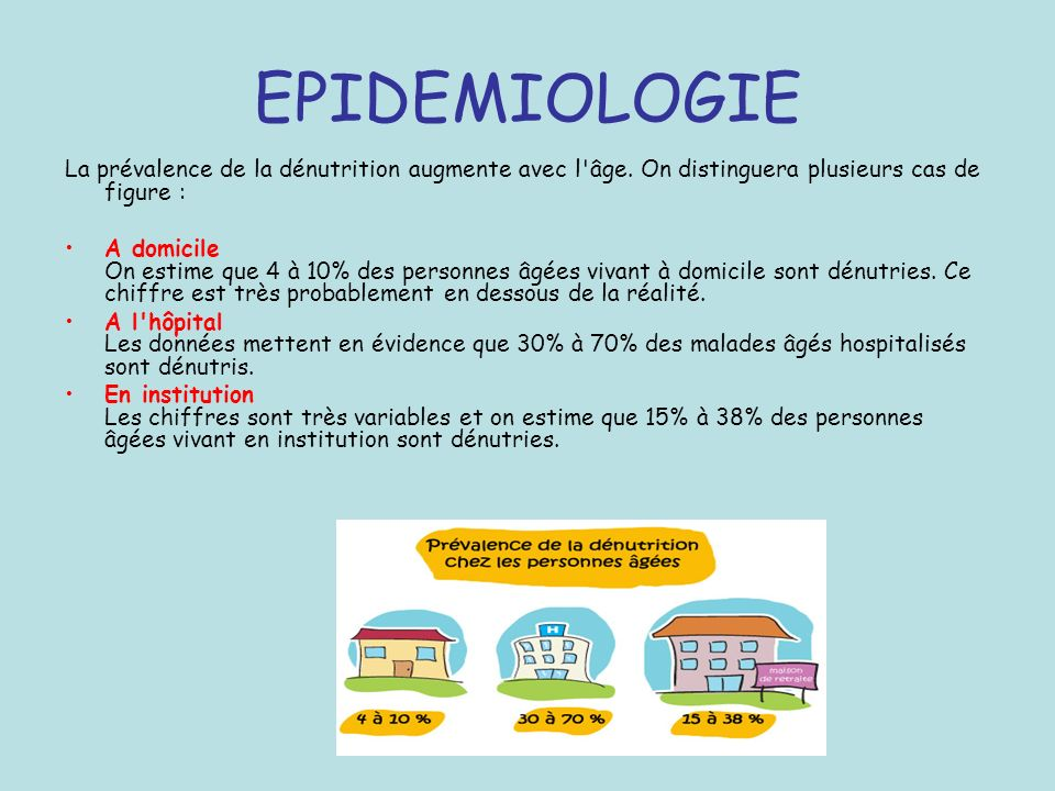 DÉNUTRITION ET MORTALITÉ Risque décès – important si perte P >40% –certains si perte P >50% Décès par: – Pathologie de base – Infection intercurrente +++ – Trouble hydroélectrolytique, hypoglycémie, hypothermie – Iatrogène: syndrome de renutrition inappropriée (refeeding syndrome)