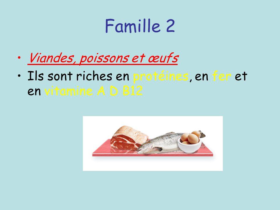 Famille 2 Viandes, poissons et œufs Ils sont riches en protéines, en fer et en vitamine A D B12