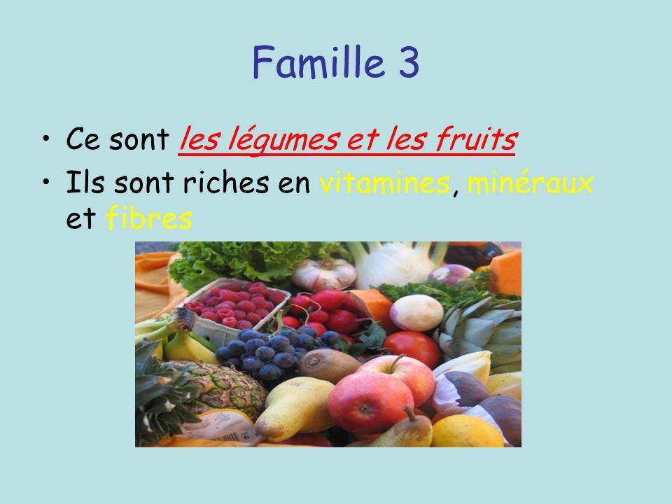 Famille 3 Ce sont les légumes et les fruits Ils sont riches en vitamines, minéraux et fibres