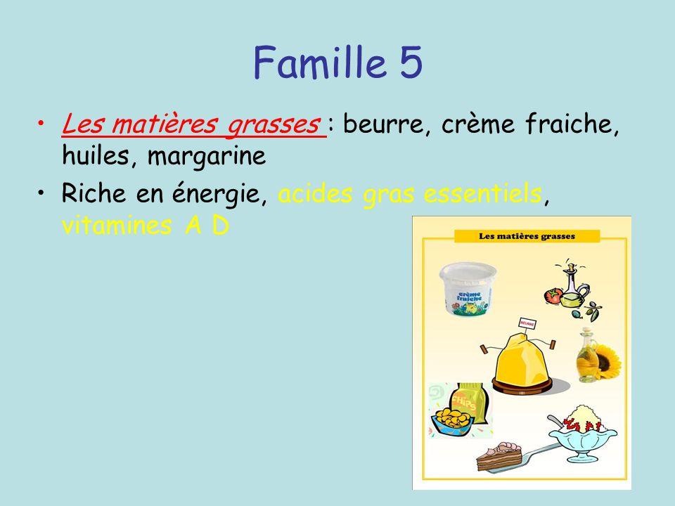 Famille 5 Les matières grasses : beurre, crème fraiche, huiles, margarine Riche en énergie, acides gras essentiels, vitamines A D