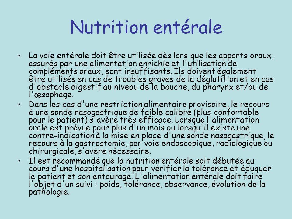 Nutrition entérale La voie entérale doit être utilisée dès lors que les apports oraux, assurés par une alimentation enrichie et l'utilisation de compl