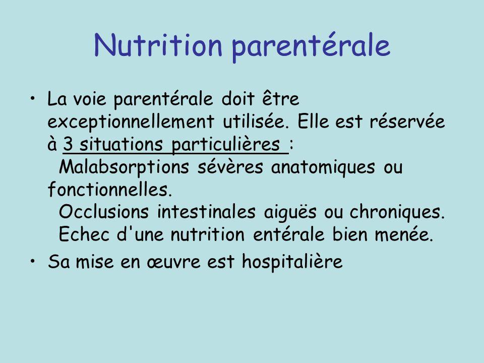 Nutrition parentérale La voie parentérale doit être exceptionnellement utilisée. Elle est réservée à 3 situations particulières : Malabsorptions sévèr