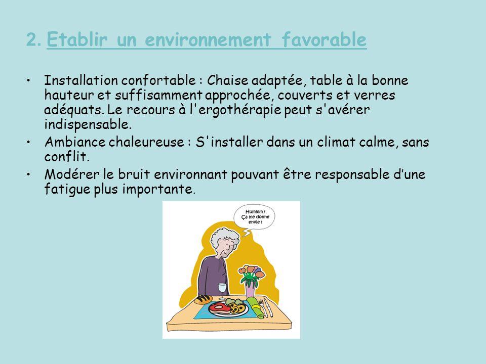 2. Etablir un environnement favorable Installation confortable : Chaise adaptée, table à la bonne hauteur et suffisamment approchée, couverts et verre