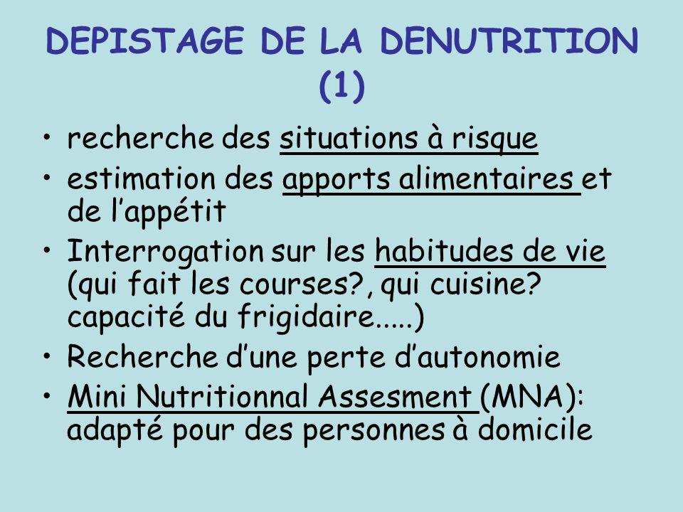 DEPISTAGE DE LA DENUTRITION (1) recherche des situations à risque estimation des apports alimentaires et de lappétit Interrogation sur les habitudes d