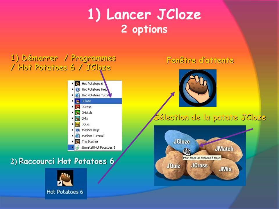 1) Lancer JCloze 2 options 1) Démarrer / Programmes / Hot Potatoes 6 / JCloze 2) Raccourci Hot Potatoes 6 Fenêtre dattente Sélection de la patate JCloze