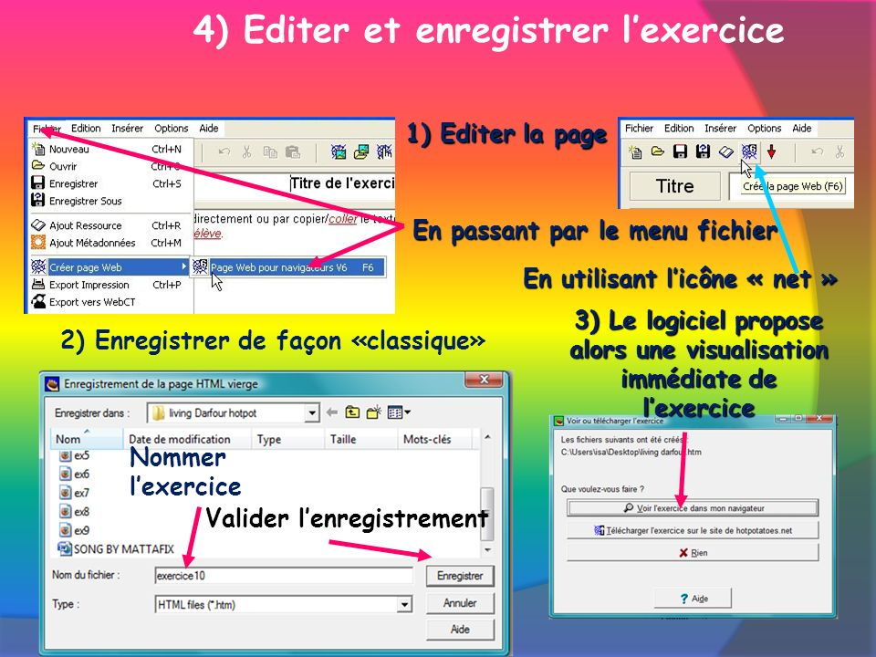 1) Editer la page En utilisant licône « net » Nommer lexercice Valider lenregistrement 3) Le logiciel propose alors une visualisation immédiate de lexercice 2) Enregistrer de façon «classique» 4) Editer et enregistrer lexerciceEn passant par le menu fichier