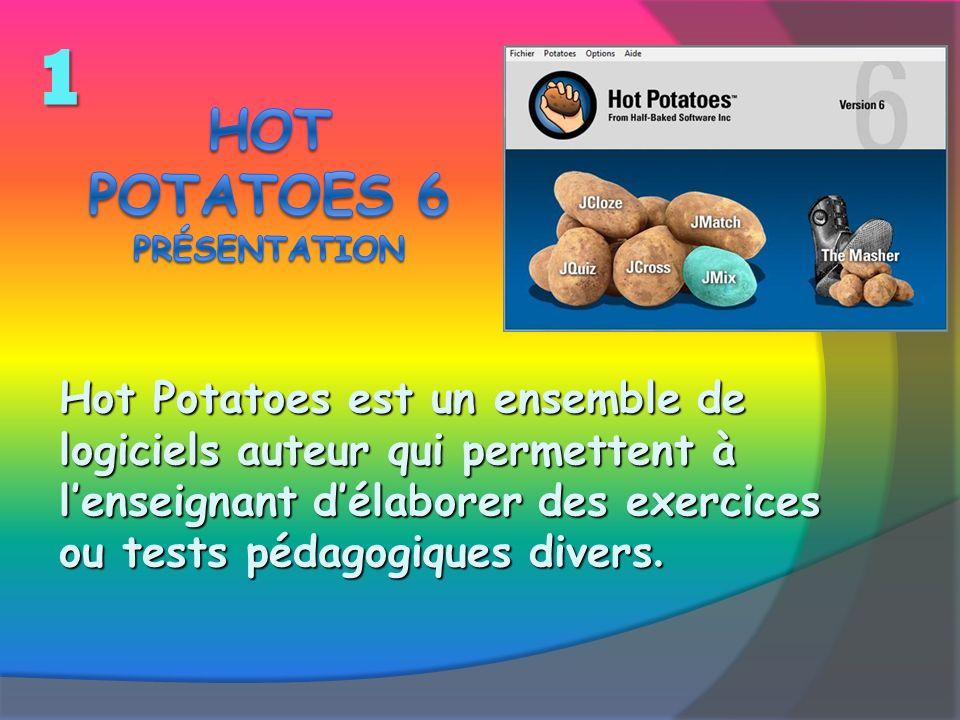 Hot Potatoes est un ensemble de logiciels auteur qui permettent à lenseignant délaborer des exercices ou tests pédagogiques divers. 1