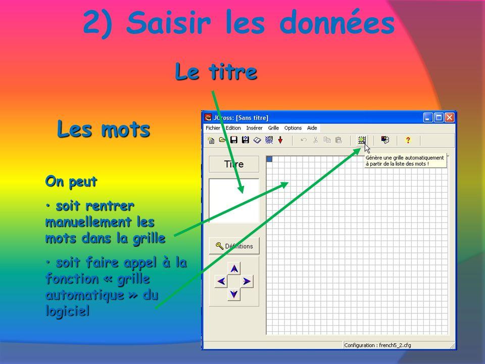 2) Saisir les donnéesOn peut s soit rentrer manuellement les mots dans la grille oit faire appel à la fonction « grille automatique » du logiciel Le titre Les mots