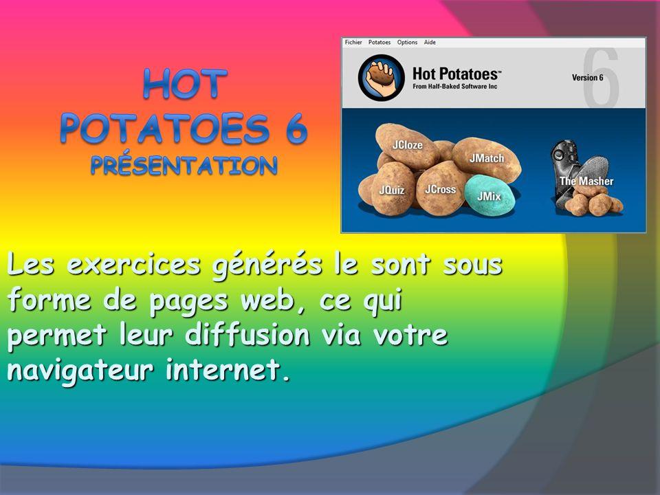 Les exercices générés le sont sous forme de pages web, ce qui permet leur diffusion via votre navigateur internet.