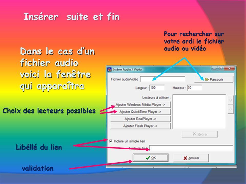 Insérer suite et fin Dans le cas dun fichier audio voici la fenêtre qui apparaîtra Pour rechercher sur votre ordi le fichier audio ou vidéo Choix des lecteurs possibles Libéllé du lien validation
