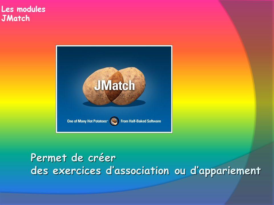 Les modules JMatch Permet de créer des exercices dassociation ou dappariement