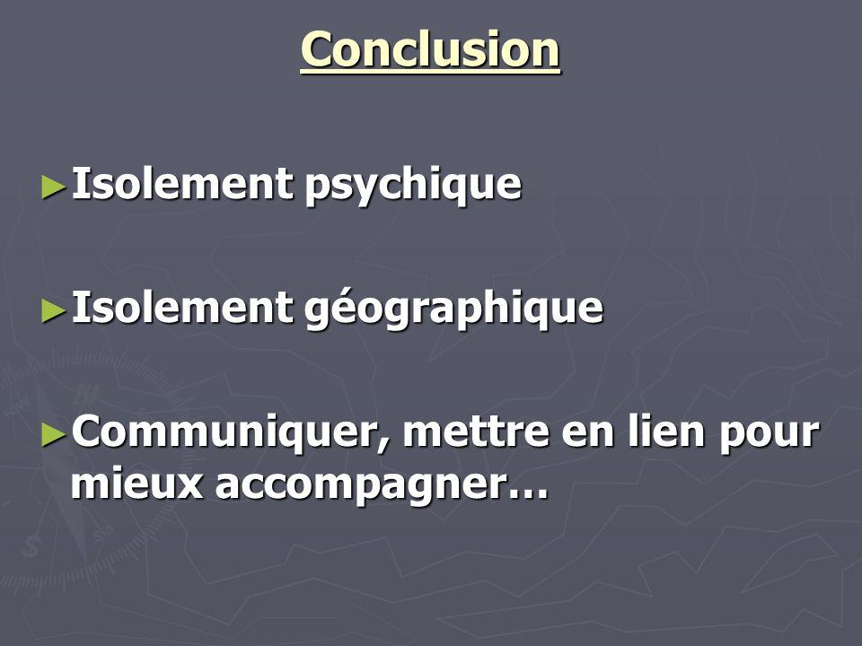 Conclusion Isolement psychique Isolement psychique Isolement géographique Isolement géographique Communiquer, mettre en lien pour mieux accompagner… C