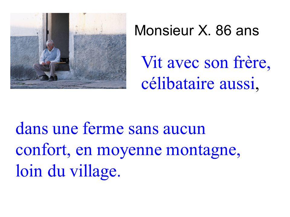 Monsieur X. 86 ans Vit avec son frère, célibataire aussi, dans une ferme sans aucun confort, en moyenne montagne, loin du village.