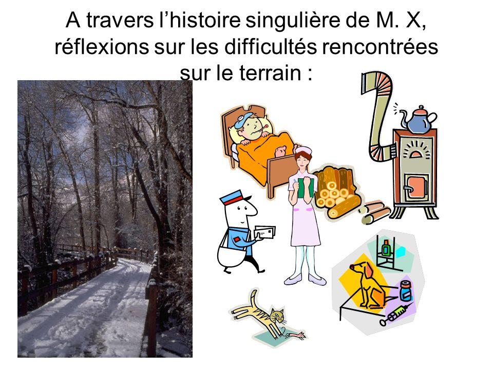 A travers lhistoire singulière de M. X, réflexions sur les difficultés rencontrées sur le terrain :