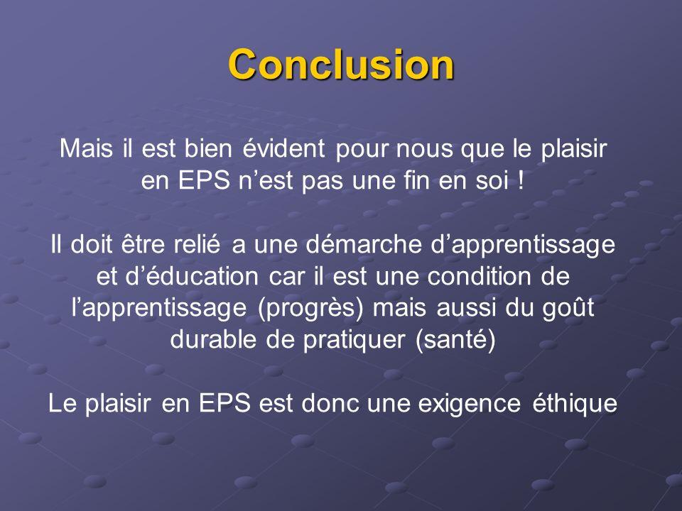 Conclusion Mais il est bien évident pour nous que le plaisir en EPS nest pas une fin en soi ! Il doit être relié a une démarche dapprentissage et dédu