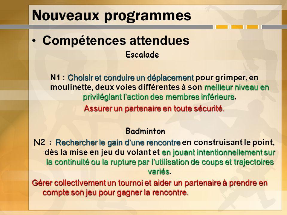 Nouveaux programmes Compétences attendues Escalade Choisir et conduire un déplacement meilleur niveau en privilégiant laction des membres inférieurs N