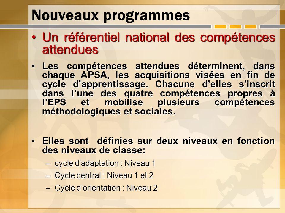 Nouveaux programmes Un référentiel national des compétences attenduesUn référentiel national des compétences attendues Les compétences attendues déter