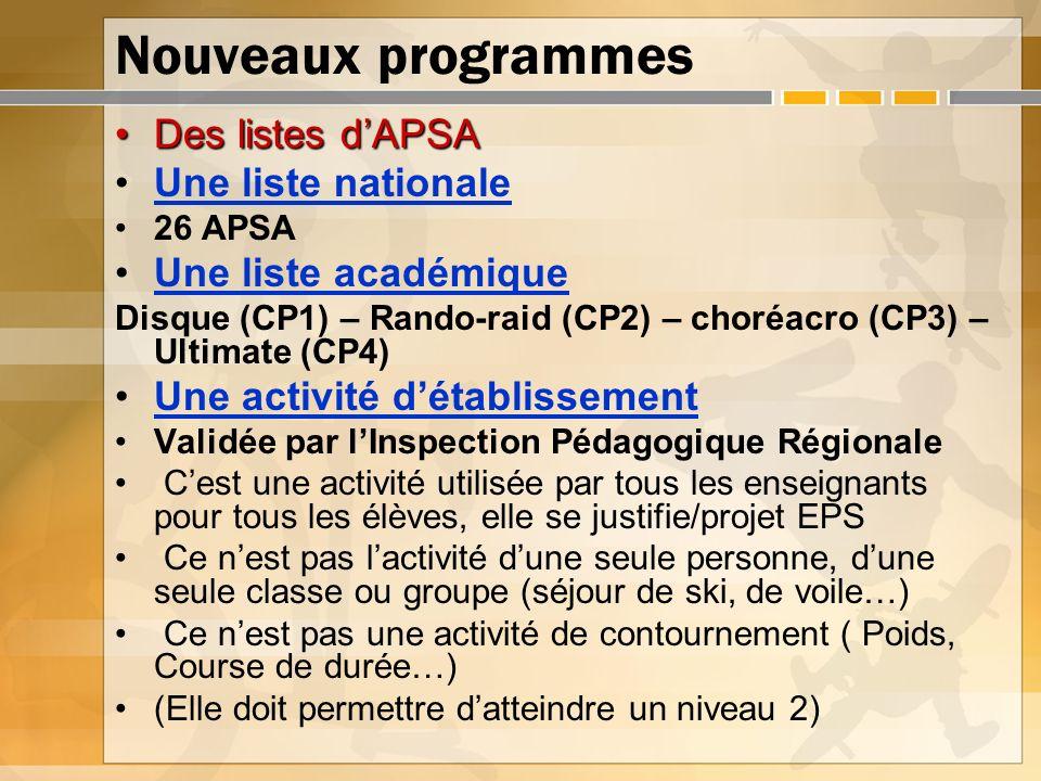 Nouveaux programmes Des listes dAPSADes listes dAPSA Une liste nationale 26 APSA Une liste académique Disque (CP1) – Rando-raid (CP2) – choréacro (CP3