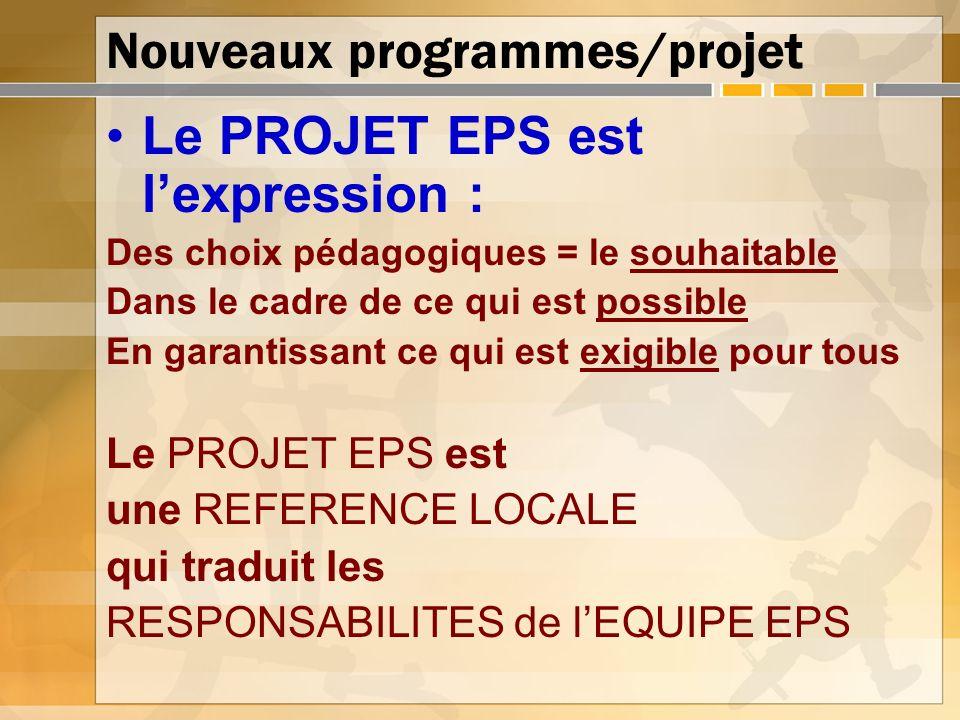 Nouveaux programmes/projet Le PROJET EPS est lexpression : Des choix pédagogiques = le souhaitable Dans le cadre de ce qui est possible En garantissan