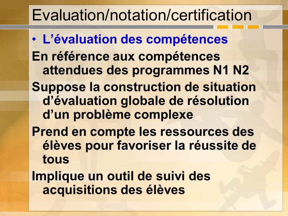 Evaluation/notation/certification Lévaluation des compétences En référence aux compétences attendues des programmes N1 N2 Suppose la construction de s