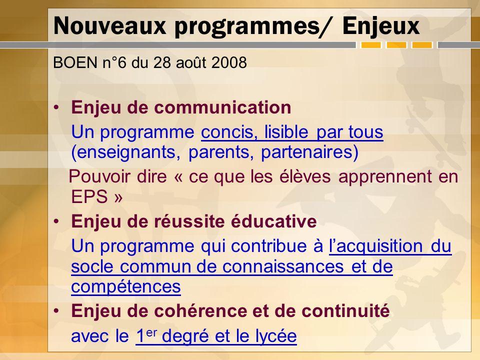 Nouveaux programmes/ Enjeux BOEN n°6 du 28 août 2008 Enjeu de communication Un programme concis, lisible par tous (enseignants, parents, partenaires)