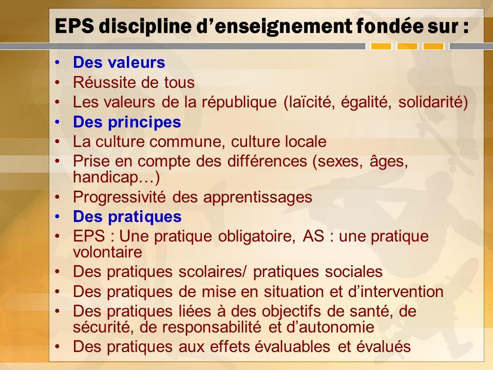 EPS discipline denseignement fondée sur : Des valeurs Réussite de tous Les valeurs de la république (laïcité, égalité, solidarité) Des principes La cu