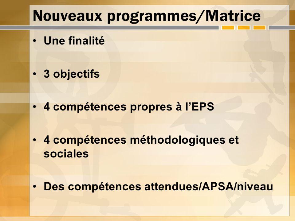 Nouveaux programmes/Matrice Une finalité 3 objectifs 4 compétences propres à lEPS 4 compétences méthodologiques et sociales Des compétences attendues/