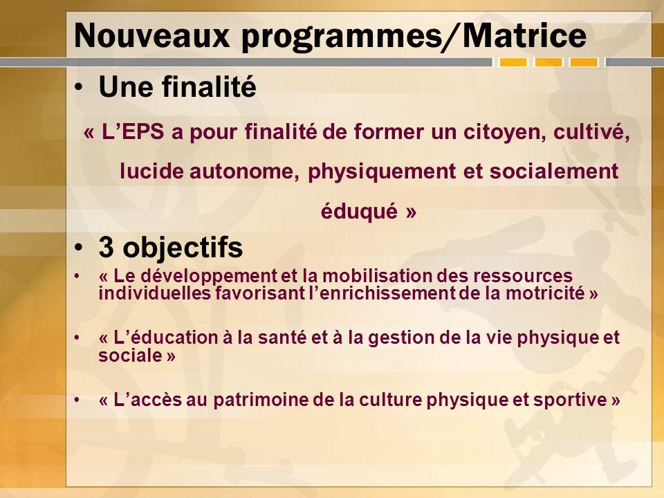 Nouveaux programmes/Matrice Une finalité « LEPS a pour finalité de former un citoyen, cultivé, lucide autonome, physiquement et socialement éduqué » 3