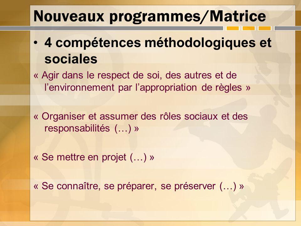 Nouveaux programmes/Matrice 4 compétences méthodologiques et sociales « Agir dans le respect de soi, des autres et de lenvironnement par lappropriatio